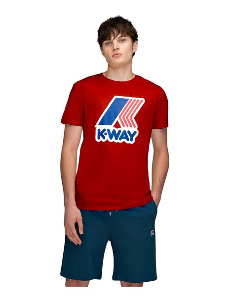 K-WAY T-SHIRT ROSSA PETE MACRO LOGO K009FF0