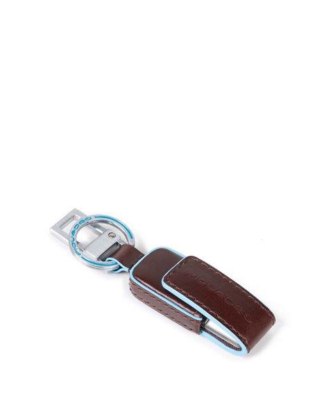 Piquadro AC4246B2 Portachiavi in pelle con chiavetta USB 16GB Marrone