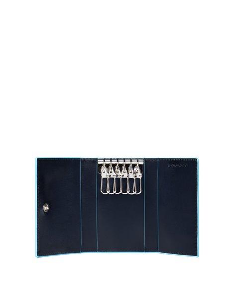 Piquadro PC1396B2 Porta chiavi con sei ganci in pelle Blu