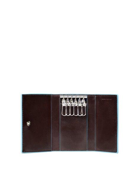 Piquadro PC1396B2 Porta chiavi con sei ganci in pelle Marrone
