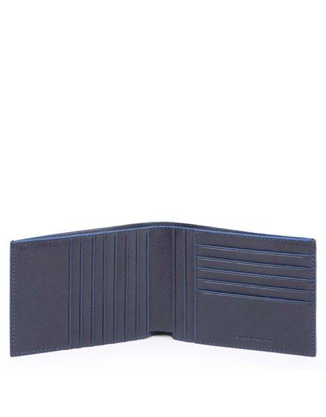 Piquadro PU1241B2R Portafoglio uomo con dodici scomparti per carte credito in pelle Blu