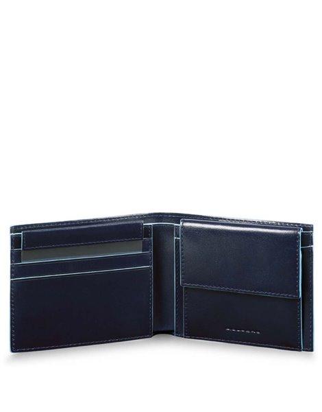 Piquadro PU4188B2R Portafoglio con portamonete, porta carte credito in pelle Blu