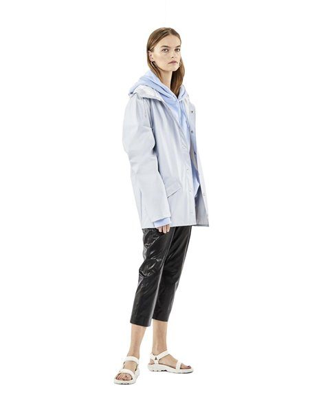 RAINS JACKET METALLIC GREY IMPERMEABILE CORTO DA DONNA CON CAPPUCCIO