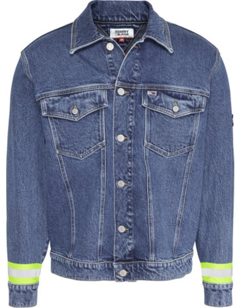 TOMMY JEANS DM0DM07596 GIUBBOTTO JEANS UOMO OVERSIZE MID BLU