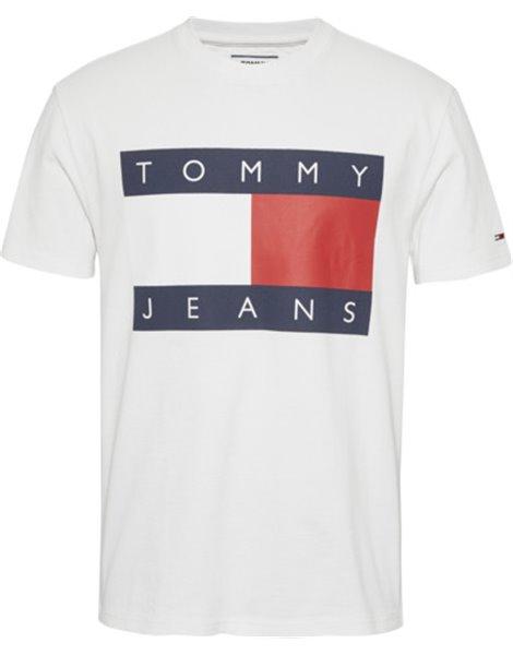 TOMMY JEANS DM0DM07009 T-SHIRT MM UOMO BANDIERA BIANCO