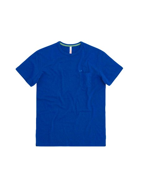 SUN68 SOLID POCKET T-SHIRT BLU ROYAL