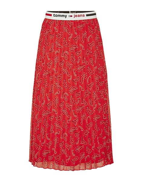 TOMMY JEANS DW08080 GONNA MIDI ROSSA CON MOTIVO PAISLEY