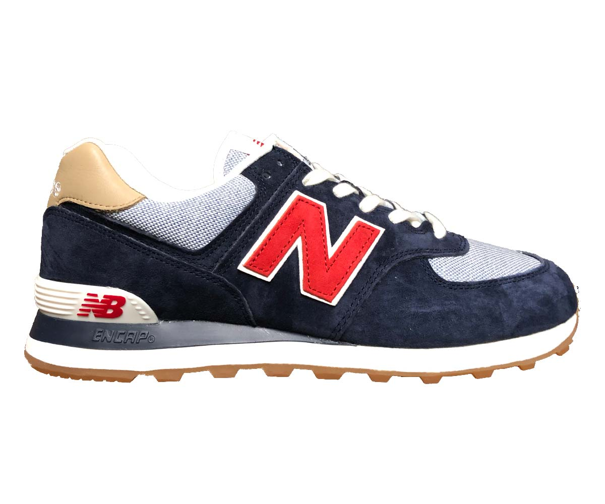 NEW BALANCE ML 574 PTR NAVY RED SNEAKERS BLU CON LOGO ROSSO