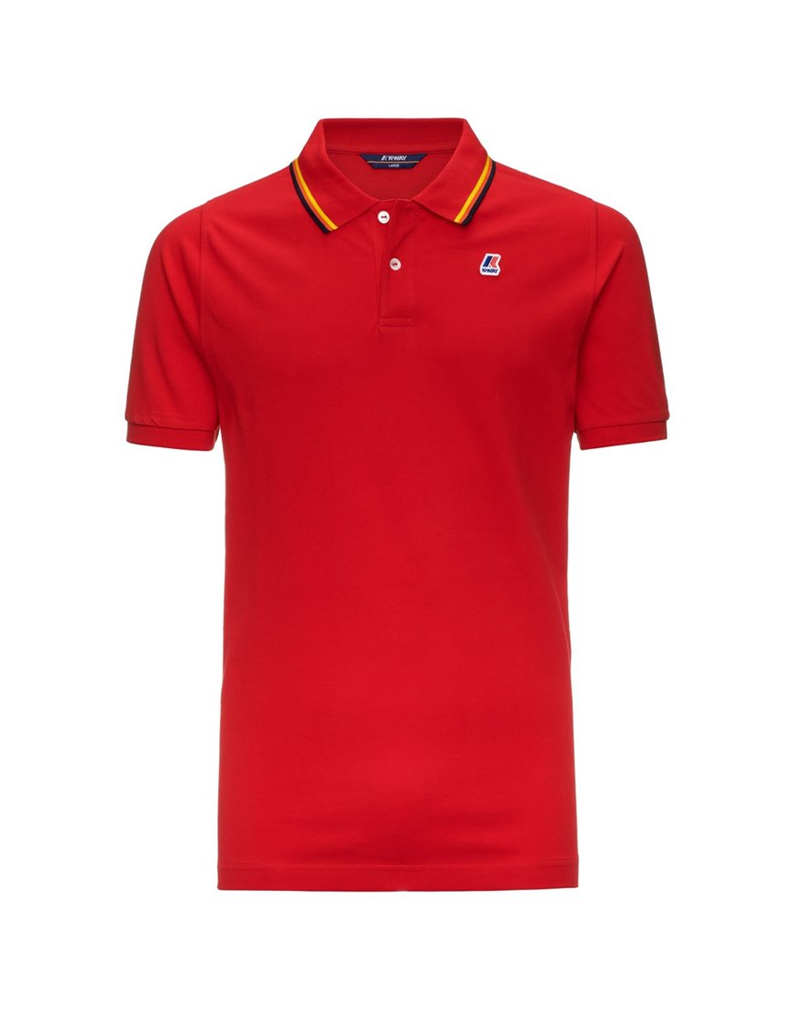 K-WAY JUDE STRIPES POLO MM UOMO ROSSO