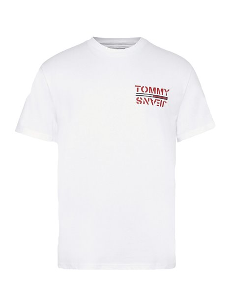 TOMMY JEANS T-SHIRT 7855DM0 CON STAMPA SUL RETRO BIANCA