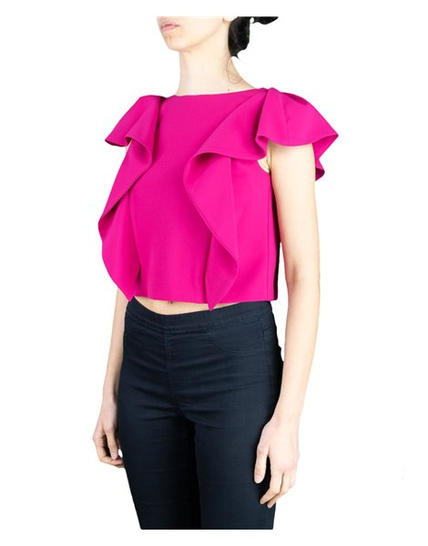 KAOS LP1CO013 TOP FUXIA CON ROUCHES LATERALI