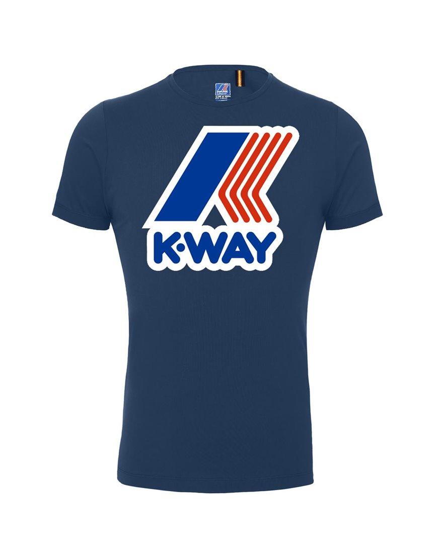 K-WAY T-SHIRT BLU PETE MACRO LOGO K009FF0