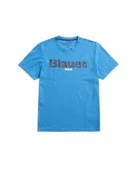 BLAUER BLUH02128 T-SHIRT UOMO AZZURRA