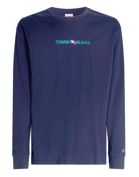 TOMMY JEANS 0241DM1 T-SHIRT ML REAR LOGO UOMO BLU
